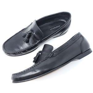 Bostonian Tassel Loafers Black Leather Moc Toe